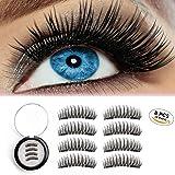 Magnetic Eyelashes 3D Reusable Fake Dual Magnet Eyelashes,Ultra Thin No Glue 0.2mm False Lashes Natural Looking and Handmade (2Pairs 8Pcs)