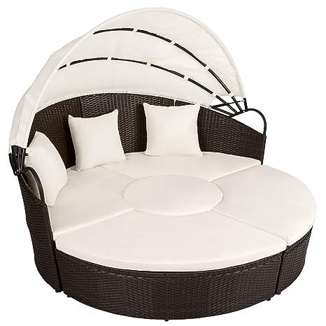 TecTake Canapé de jardin chaise longue bain de soleil en aluminium et poly rotin avec toit dépliable | largeur: env. 178cm | marron antique