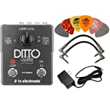 TC Electronic Ditto X2 Looper Pedal BUNDLE with AC/DC Adapter Power Supply for 9 Volt DC 1000mA, 2 Metal-Ended Guitar Patch Cables AND 6 Dunlop Guitar Picks