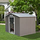 DOIT 8'x10' Outdoor Metal Steel Low Gable Storage Shed with Floor Frame Foundation Base Gray Tool Utility for Garden Backyard Lawn (Color: Grey&White, Tamaño: 8'x10')