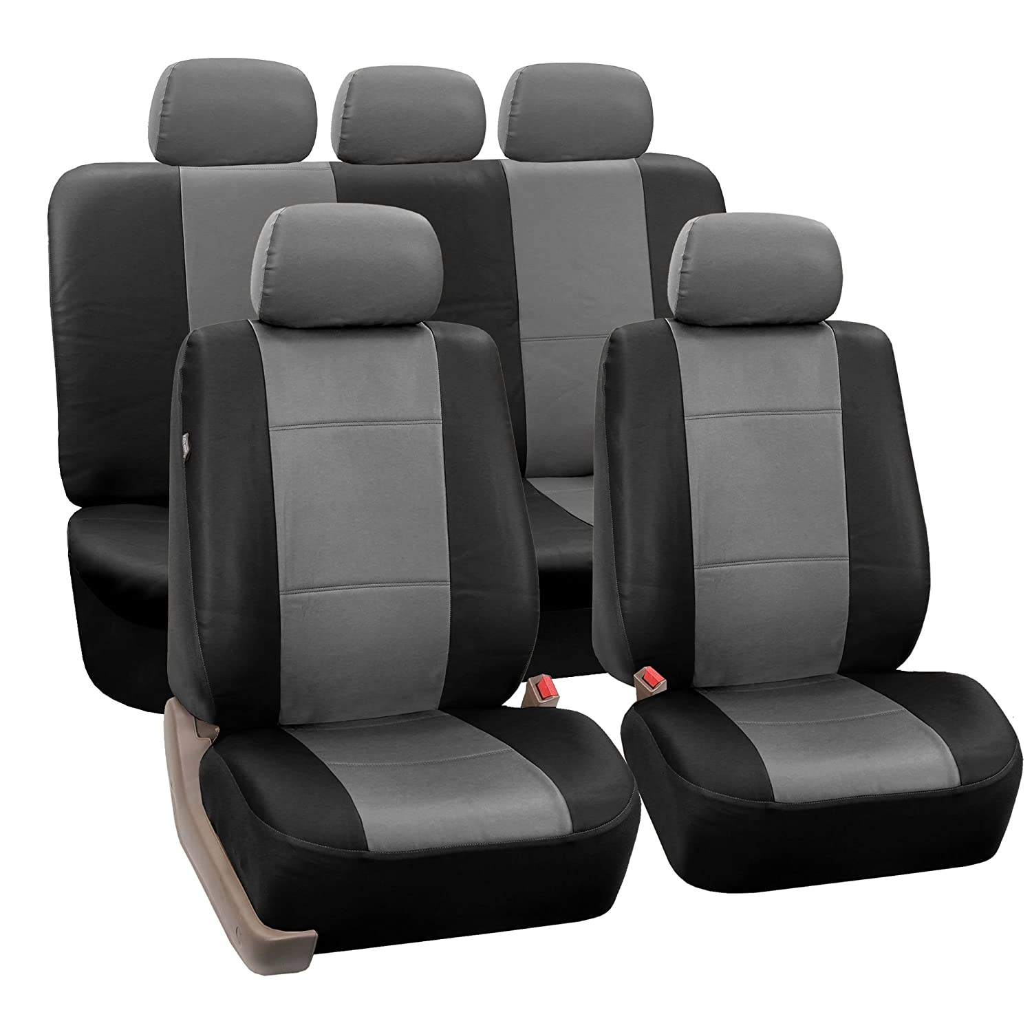 FH-PU002115 Classic Exquisite Leather Car Seat Covers, Airbag compatible and Split Bench, Gray / Black color