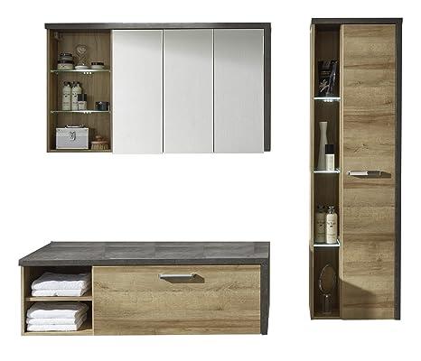 Furnline Bathroom Set, Wood, Brown, 3-Piece