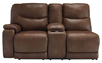 Longview Brown LAF Double Power Reclining Loveseat with Console