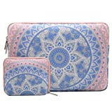 MOSISO Laptop Sleeve Bag Compatible 13-13.3 Inch MacBook Pro, MacBook Air, Notebook Computer with Small Case, Canvas Fabric Mandala Pattern Protective Cover, Blue and Pink (Color: Blue and Pink, Tamaño: 13-13.3 Inch)