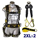 Guardian Fall Protection 21032 Cyclone Construction Harness + Twin Leg Web 6ft SRL with Steel Rebar Hook Ends + Web 3 ft Anchor Sling with 2 D-rings & 3