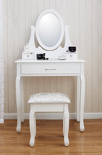 New Amalfi AGTC0009 Dressing Table Mirror Stool Set Shabby Chic Vanity Bedroom Dresser