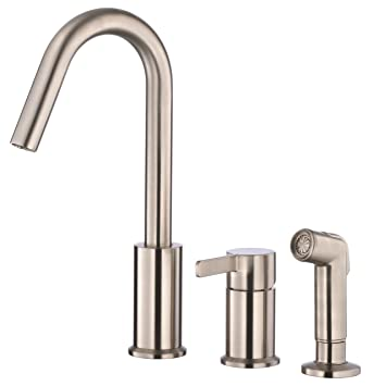 Danze D409130SS Amalfi Single Handle High-Rise Kitchen Faucet with Side Spray, Stainless Steel, Stainless Steel