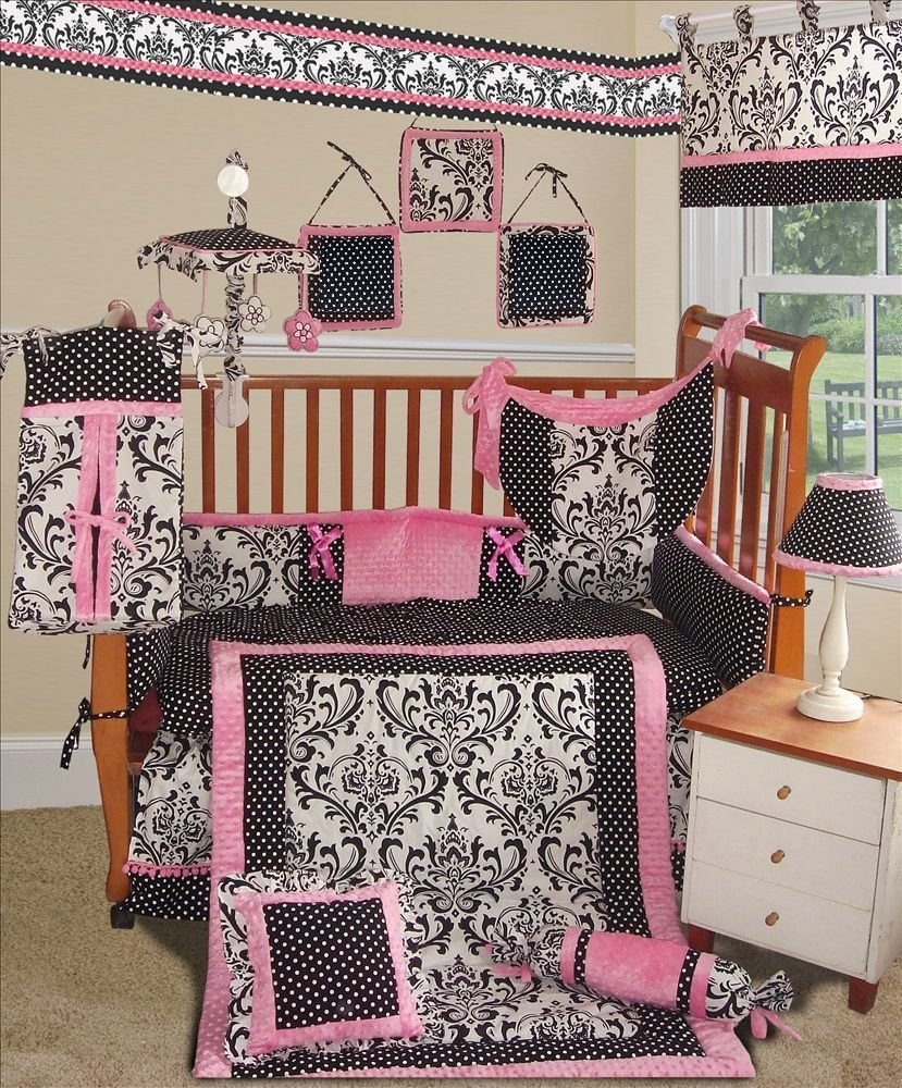 Sisi Rose Damask Crib Bedding