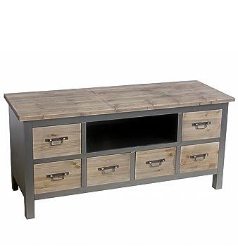 Cómoda y mueble bajo de diseño colonial de madera de densidad media 51 x 107 x 36 cm de colour gris y marrón de madera tamaño pequeño de los muebles