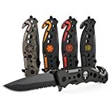 3-in-1 Navy SEAL Skull Tactical Knife for Search & Rescue with Glass Breaker, Seatbelt Cutter and Steel Serrated Blade (Color: SEAL Special Forces)