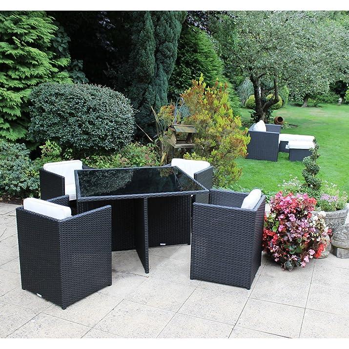Charles Bentley Garden Wicker Rattan 5 pezzi Cube mobili Set tavolo in vetro e 4 sedie - Black & Cream