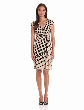 Danny & Nicole Women's Side Wrap V-Neck Dress, Beige/Black, 8
