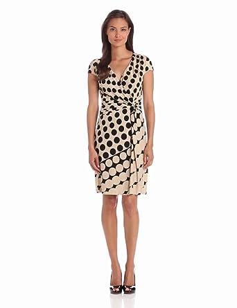 Danny & Nicole Women's Side Wrap V-Neck Dress, Beige/Black, 8