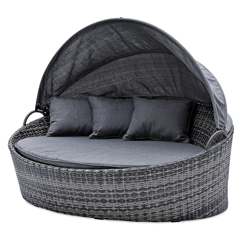 Belardo Minois Garten Sonneninsel oval grau Sonnendach mit Aufstellautomatik inkl. Auflagen und Zierkissen Lounge-Set