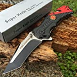 SNAKE EYE TACTICAL FIRE DEPARTMENT RESCUE STYLE ASSISTED OPENING KNIFE WITH CLIP (Color: Fire Department)