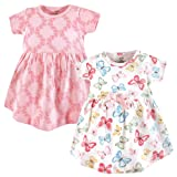 Touched by Nature Baby Girls' Organic Cotton Dress, 2 Pack, Butterflies, 18-24 Months (24M)