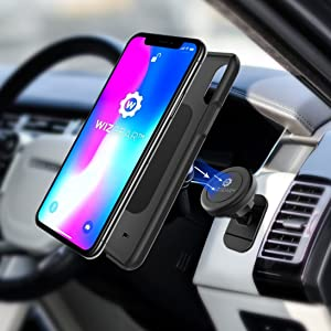 Magnetic Mount, WizGear Universal Stick On (2 Pack) Dashboard Magnetic Car Mount Holder, for Cell Phones and Mini Tablets with Fast Swift-snap Technology, Magnetic Cell Phone Mount (Color: Black)