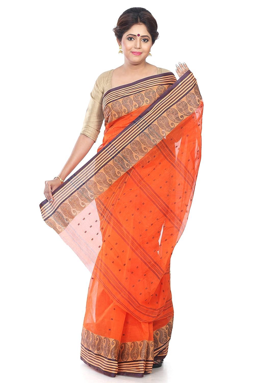 Orange coloured Traditional Bengal Tant Handloom saree