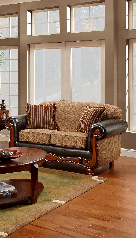 Chelsea Home Furniture Salem Loveseat - Upholstered in Radar Mocha/Trapper Brown
