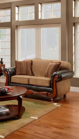 Chelsea Home Furniture Salem Loveseat, Upholstered in Radar Mocha/Trapper Brown