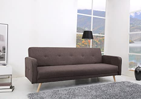 Oslo Schlafcouch Stoff Fuscous braun-grau Schlaffunktion Sofa