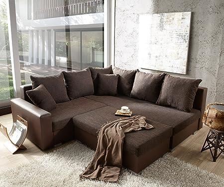 Couch Lavello mit Hocker Ecksofa L-Sofa (Eckcouch Rechts mit Hocker, Braun/Braun)