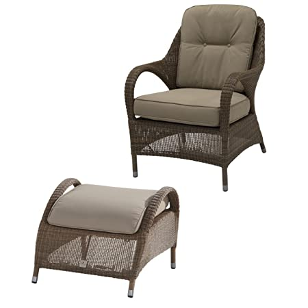 4Seasons Outdoor Sussex living Sessel mit Fußhocker Polyloom taupe inkl Kissen