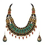 Zephyrr Tibetan Necklace Jade Choker and Earrings Sets for Women Statement Ethnic Jewelry for Girls (Color: Multi)