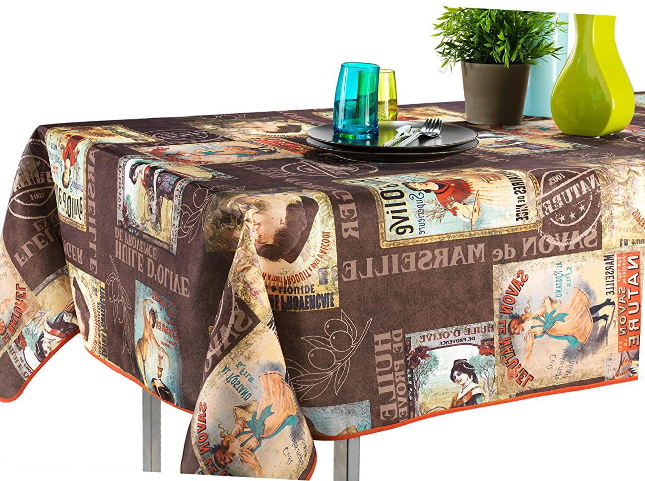 60 x 120-Inch Rectangular Tablecloth Brown Vintage Provence Cabaret, Stain Resistant, Washable, Liquid Spills bead up, Seats 10 to 12 People (Other Size Available: 63