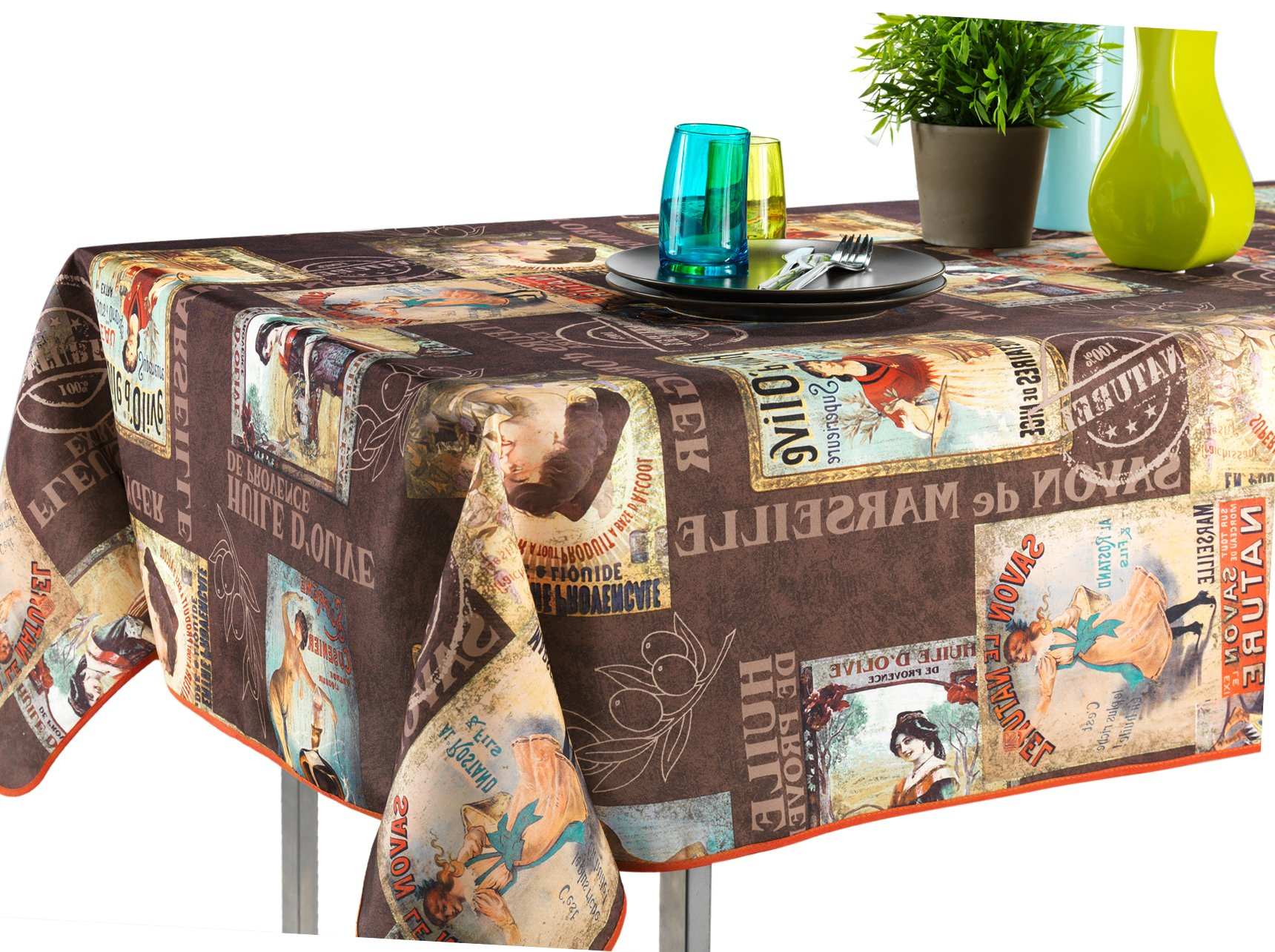 60 X 120 Inch Rectangular Tablecloth Brown Vintage
