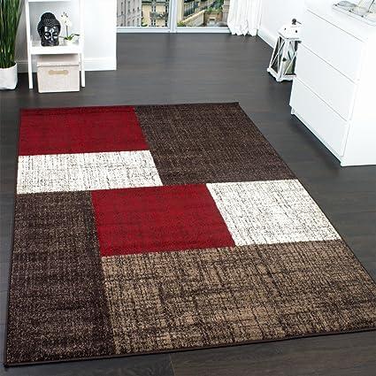 Designer Teppich Modern Kariert Kurzflor Teppich Design Meliert Braun Beige Rot, Grösse:140x200 cm