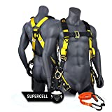 KwikSafety (Charlotte, NC) SUPERCELL Safety Harness | ANSI OSHA Full Body Personal Fall Protection | Dorsal Ring Side D-Rings Grommet Tongue Buckle Straps Tool Lanyard Construction Tower Roofing (Color: Harness + Tool Lanyard, Tamaño: 1 PACK)