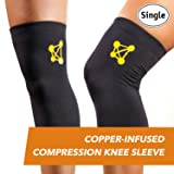 CopperJoint Copper Knee Brace & Recovery Sleeve (Color: Comfort - Black, Tamaño: Large)