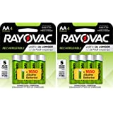 8 Rayovac AA Recharge Rechargeable 1350mAh NiMH Pre-Charged Batteries, (2 x 4 packs) + Holders
