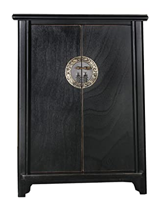 SONGYUAN Chest of Drawers with 2-Doors, Pine (Black)