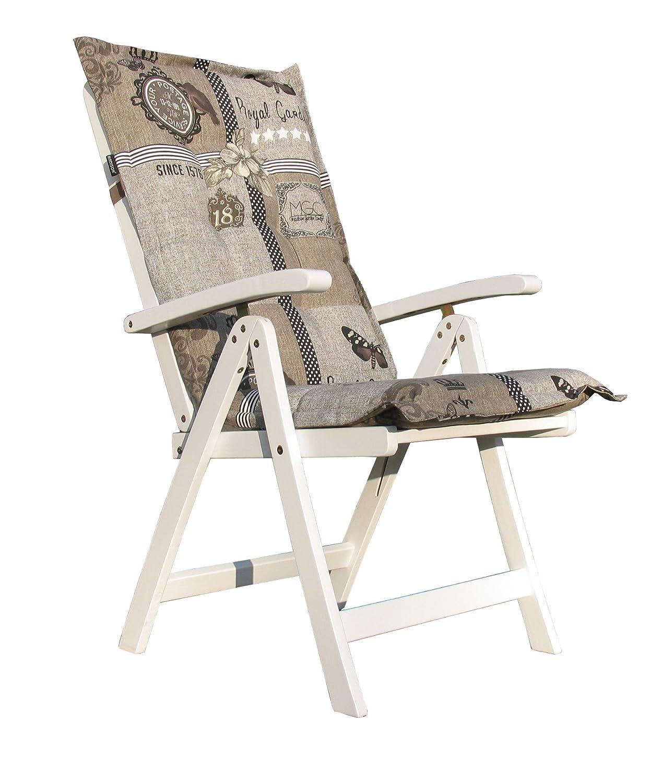 Klappsessel Santos Weiß mit Auflage Xara Taupe online kaufen