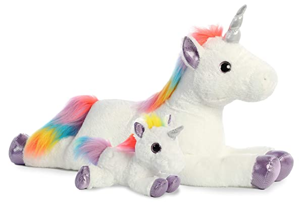 Aurora World Rainbow Unicorn Plush (Rainbow Unicorn Mommy and Me Super Flopsie)
