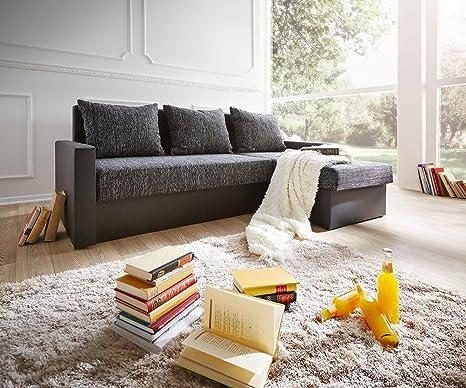 Couch Avondi Schwarz 225x145 Schlaffunktion Ottomane variabel Ecksofa