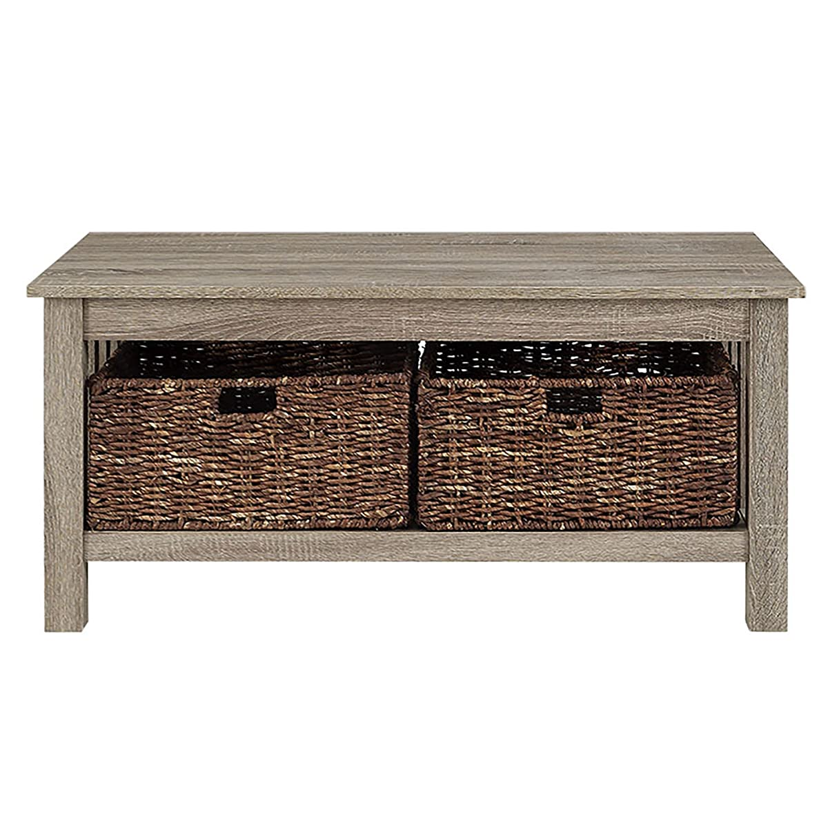 """WE Furniture 40"""" Wood Storage Coffee Table with Totes - Driftwood"""