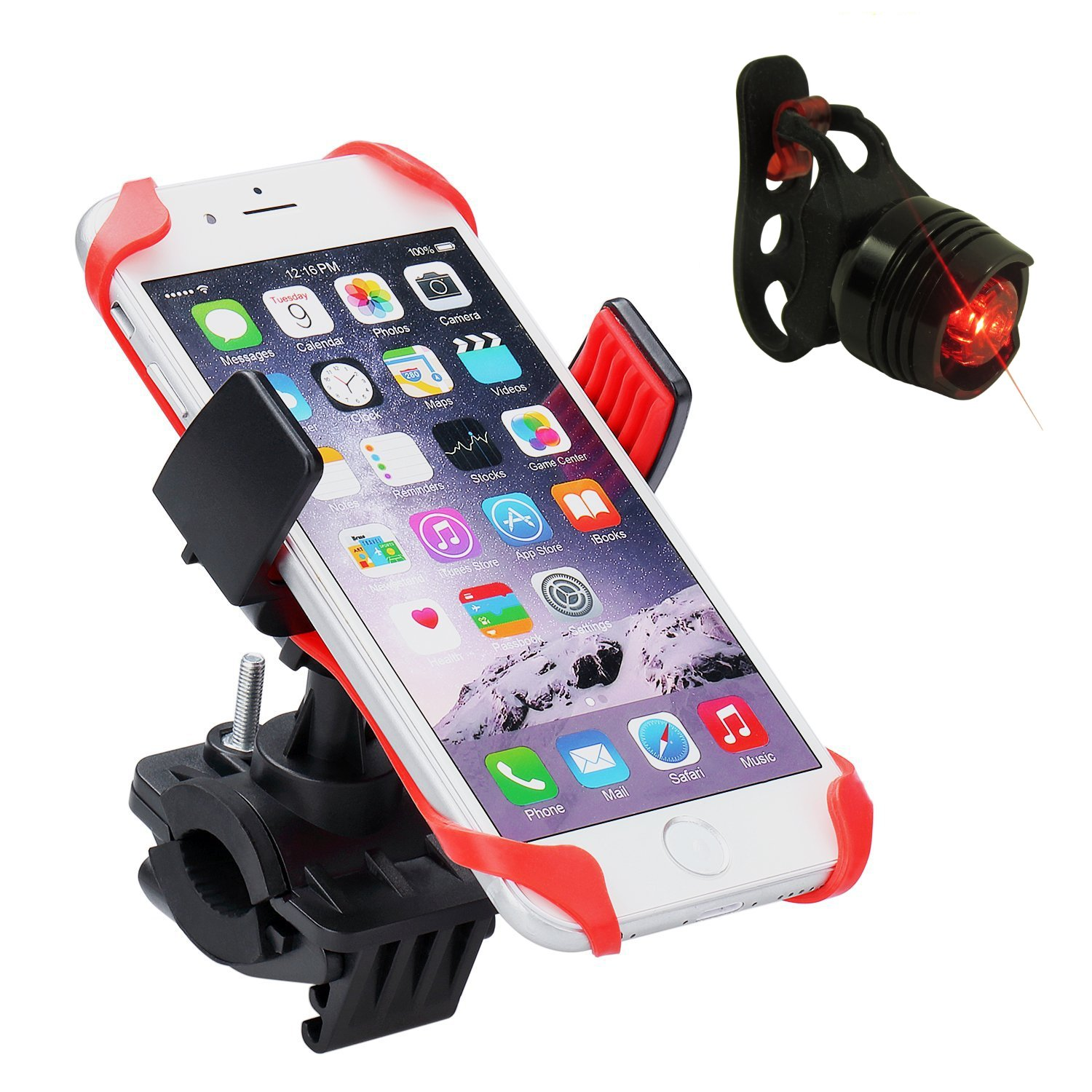 Bike Phone Holder with Tail Light Universal Mount Batteries Included