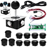Quimat Arcade Game Joystick and Buttons DIY Kit with 360 Degree Rotation Handle and Zero Delay USB Encoder Board, Supports Windows, PS3, Raspberry Pi, Android, XBOX 360 for Mame Jamma&Other Fight Game