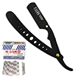 100 BLADES + Facón Professional Classic Straight Edge Barber Razor - Salon Quality Cut Throat Shavette (Tamaño: Black)