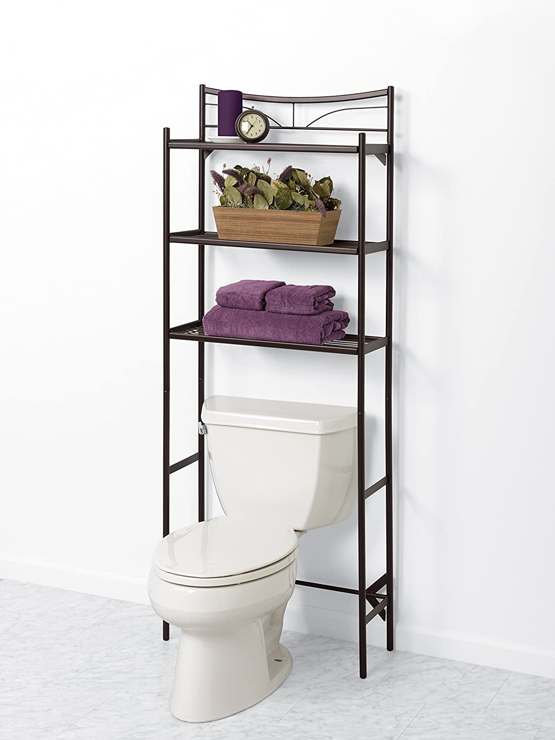 Bathroom spacesaver over toilet shelves storage metal for Bathroom over the toilet shelf