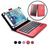 Cooper Infinite Executive Keyboard case Compatible with Verykool Kolorpad LTE | 2-in-1 Bluetooth Wireless Keyboard & Leather Folio Cover | 100HR Battery, 14 Hotkeys (Red) (Color: Red, Tamaño: Verykool Kolorpad LTE)