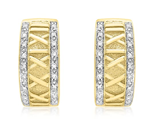 Carissima Gold 9ct Yellow Gold 0.16ct Diamond Roman Numeral Half Hoop Earrings