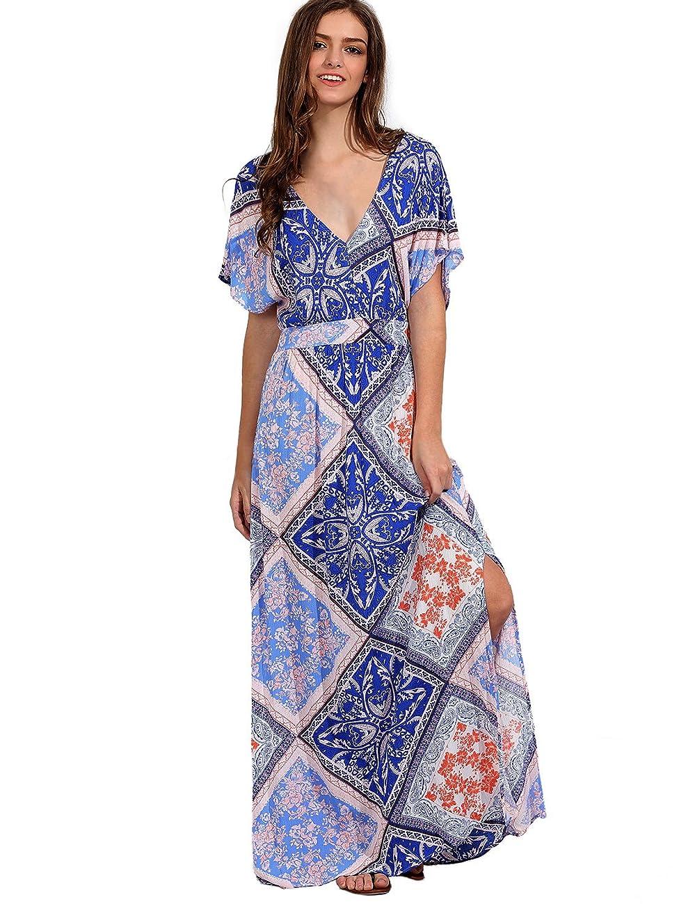 Milumia Women's Boho Split Tie-Waist Vintage Print Maxi Dress 0