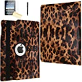 iPad 2 Case, iPad 3 Case, iPad 4 Case, JYtrend (R) Rotating Stand Smart Case Cover Magnetic Auto Wake Up/Sleep for iPad 2/3/4 A1395 A1396 A1397 A1403 A1416 A1430 A1458 A1459 A1460 (Brown Leopard) (Color: Brown Leopard)