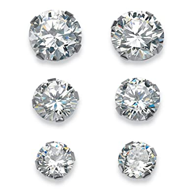 5.15 TCW Round Cubic Zirconia 10k White Gold Stud 3-Pairs Earrings Set