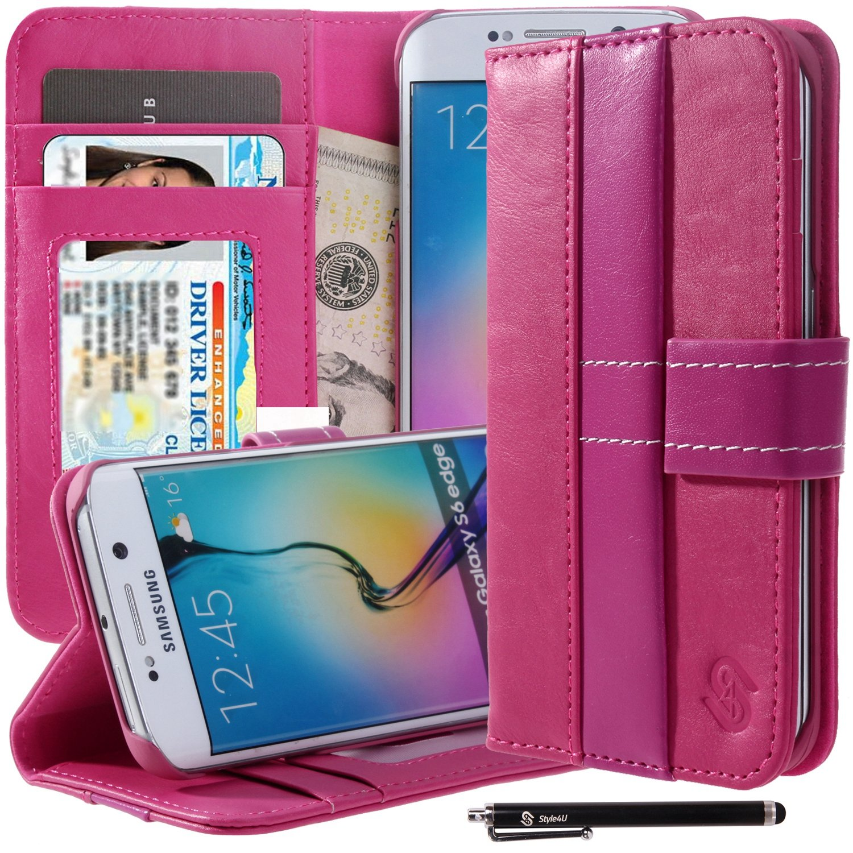 Style4U Samsung Galaxy S6 Edge Stand Wallet Case w/ID Credit Card & Stylus