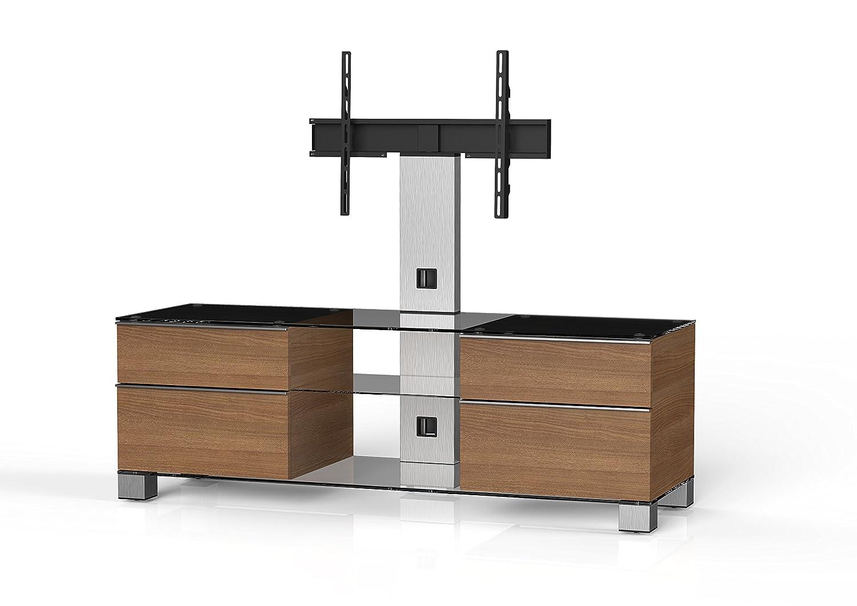 Sonorous MD 8340-C-INX-WNT Fernseher-Möbel mit Klarglas (Aluminium Inox, Korpus Holzdekor) walnuß
